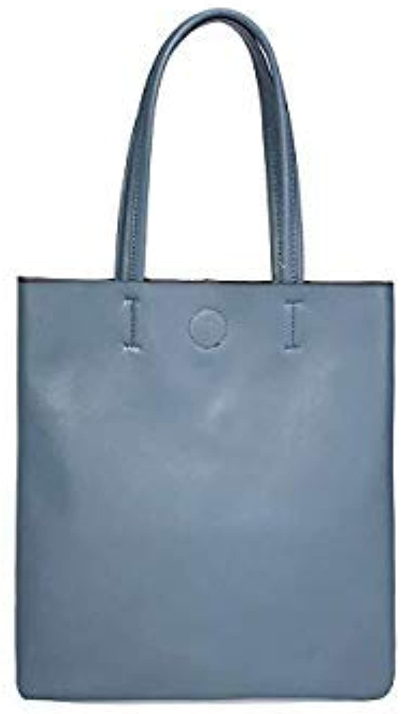 Bloomerang Korean Style Genuine Leather Women Handbags Foldable Shopping Tote Bags Luxury Designer Famous Brand Ladies Shoulder Bags color Flax blueee