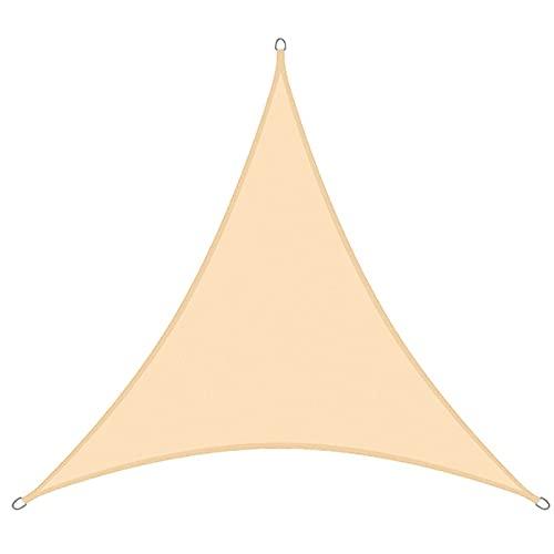 Vela de Sombra Solar, Paño de Sombrilla Triangle 3x3x3m, con Luces LED, Toldo de Vela de Jardín, Vela Parasol Transpirable Impermeable con Bloque UV,S