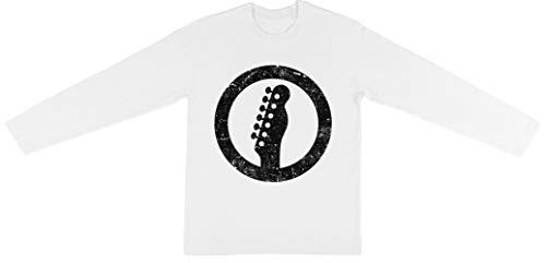 Telecaster Kop, Wit Unisex Lange Mouw T-shirt Jongens Meisjes Wit Unisex Long Sleeve T-shirt Boys Girls White