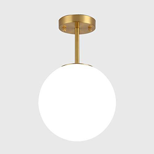 Flurlampe Decke Küchenleuchte Deckenleuchte Kugel Deckenlampe Glas Spritzwassergeschützt Badlampe, Material: Messing, Farbe: Golden, Glas: Opal matt Weiß, Leuchte für Wohnzimmer Flur Lampe, E27, Ø20cm