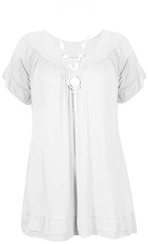 Espania Trading EST Women Frill Necklace Gypsy Chain Tops White Plus18-24