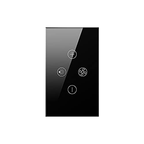 Smart WiFi Fan Light Switch,EU/US Ceiling Fan Lamp Switch Tuya Remote Various Speed Control Work with Alexa,Google - (Color: US Black, Ships from: United States)
