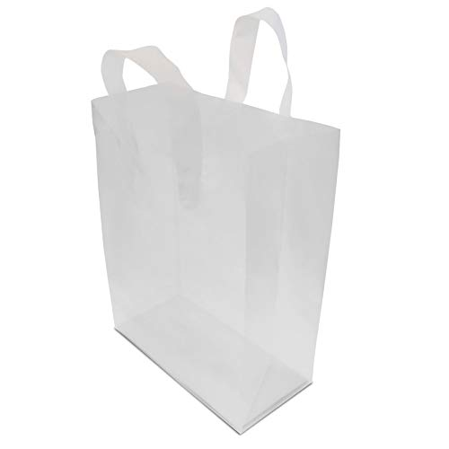 Frosted Clear Plastic Bags with Soft Strap Handles, Shopping Bags, Gift Bags, Take Out Bags with Cardboard Bottom Thick, High-Density 8x4x10x4 100 Pcs.