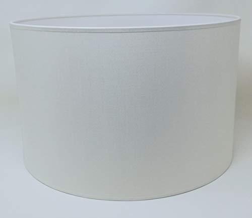 Zylinder Lampenschirm Baumwolle Stoff handgefertigt für Deckenleuchte, Tischleuchte, Stehlampe (Elfenbein, 40 cm Durchmesser 20 cm Höhe)