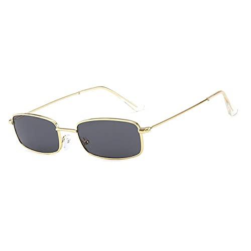 DBSUFV Gafas de Sol rectangulares pequeñas con Sombras Retro para Hombre, Lentes Rojas, Montura metálica, Lentes Transparentes, Gafas de Sol para Mujer, Unisex Uv401