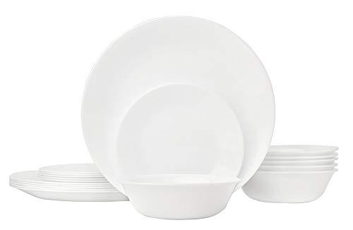 CORELLE Service de Vaisselle pour 6 Personnes 18 pièces en Verre Vitrelle Blanc