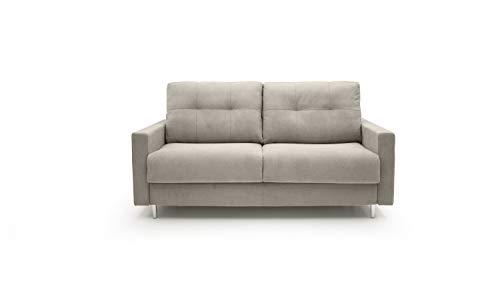 Sofá cama de 2,5 o 3 plazas modelo Fluffy con colchón plegable de 13 cm de altura, convertible, de tejido suave impermeable y desenfundable, fabricado en Italia (arena, 2,5 plazas)