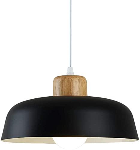 Lámpara colgante de metal colorido nórdico, moderno simple E27 Lámpara de madera Socket 30 cm Pendel Lamp lámpara colgante Color vibrante para la cocina Dormitorio Salón (Color : Negro)