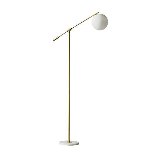 Gouden Vloerlamp Verstelbare Staande Vloerlamp voor Woonkamer Slaapkamer Lezen Glas Lampenkap Vissen Licht, 160cm 01-29