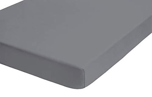 biberna 0012344 Frottee-Stretch Spannbetttuch (Matratzenhöhe max. 22 cm) (Baumwolle/Polyester) 140x200 cm -> 160x200 cm, silber/grau