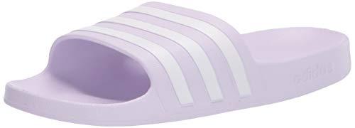 adidas Women's Adilette Aqua Slide Sandal, Clear Lilac/White/Clear Lilac, 9