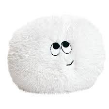 Flauschn Kuschel-Kissen Kinderflauschkissen mit lustigem Gesicht Durchmesser 45 cm super kuschelweich (Weiss)