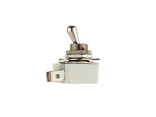 Faston - Interruptor de palanca (SPST), 2 A, 250 VAC, palanca de latón niquelado y casquillo de montaje