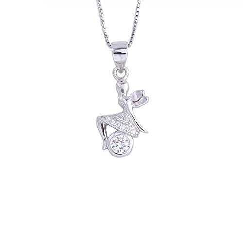 Kkoqmw Collar de Bola Redonda de Hada de Mariposa de Plata de Ley 925 para Mujer, Colgantes Elegantes de Ángel de Cristal, joyería