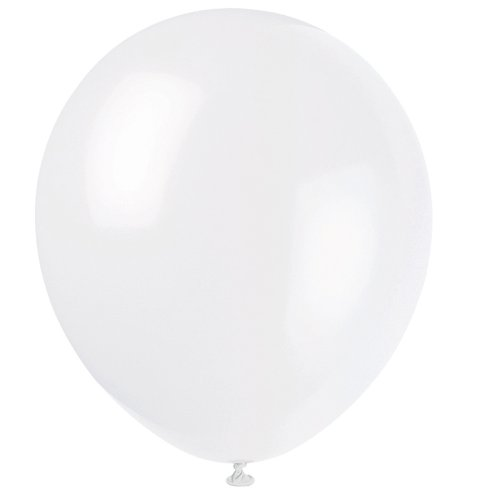"12"" Latex White Balloons, 10ct"