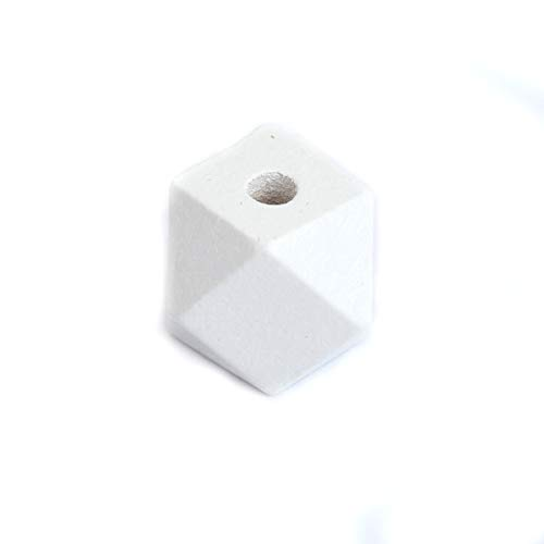 SiAura Material - 50 perlas de madera blancas de 15 mm x 15 mm con agujero de 3,5 mm I Forma geométrica I facetada I Para manualidades, enhebrar y pintar.