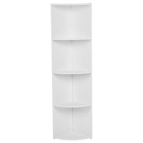 Estante de almacenamiento de pie - Estante de almacenamiento de pie blanco de 4 niveles Estante de almacenamiento de esquina...