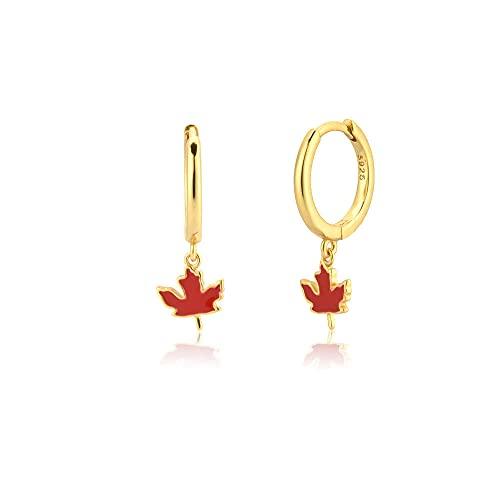Pendientes de plata esterlina Clips de joyería de verano de frutas Aros Pulpo Aros Papaya Circle Rock Punk 925-Gold Maple leaf