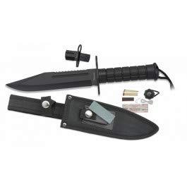 ALBAINOX - 32520. Cuchillo de Supervivencia ALBAINOX. Mango de fibra. Funda de nylon. Incluye kit. Herramienta para Caza, Pesca, Camping, Outdoor, Supervivencia y Bushcraft