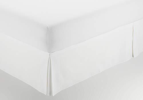 ESTELIA - Cubrecanapé de Hilo Tintado Color Blanco óptico - Cama de 105 (Alto 30 cm) - con Velcro Adhesivo - 50% algodón / 50% poliéster
