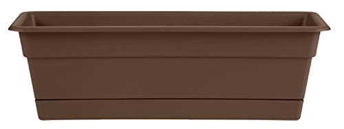 "Bloem Dura Cotta Window Box Planter w/Tray, 24"", Chocolate (DCBT24-45)"