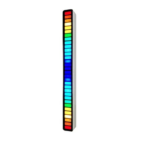 Control de Sonido RGB Luz Creativa Colorida Música Barra de Luz Ambiental con 32 LED para Escritorio de Juegos de Coches Ritmo de Recogida Activado por Voz Luz Ambiental Control