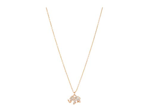 Kate Spade New York Things We Love Pave Elephant Mini Pendant Necklace with Gift Box Clear/Rose Gold One Size