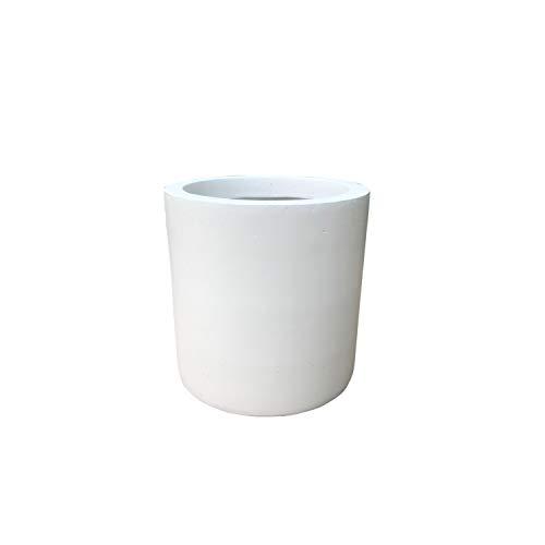 Kante RC0119B-C80011 Lightweight Concrete Modern Cylinder Outdoor Planter, 12.9 Inch Diameter, Pure White