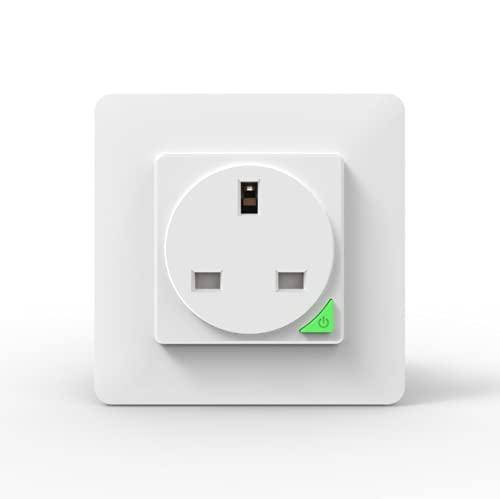 Riiai Enchufe inteligente WiFi, funciona con Amazon Alexa, Google Home Wireless Socket Control remoto temporizador protección contra sobretensión interruptor 16A