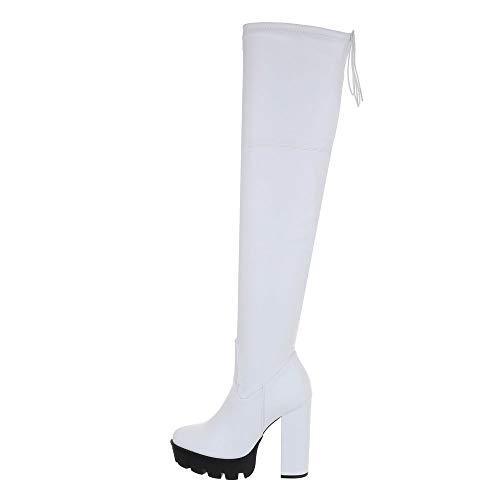 Ital-Design Damenschuhe Stiefel Overknees Synthetik Weiß Gr. 40