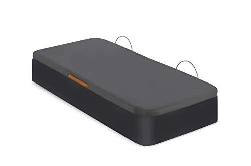 Canapé Tapizado | Apertura Lateral | Tapa Tejido 3D | Arcón Polipiel | Bombines Hidráulicos |Fabricado en España | Envío y Montaje Gratis (105 x 190 cm, Negro)