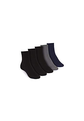 THOKKTHOKK Socken Mittelhoch Schwarz Grau Blau 5er Pack Bio, Größe:M 39-42