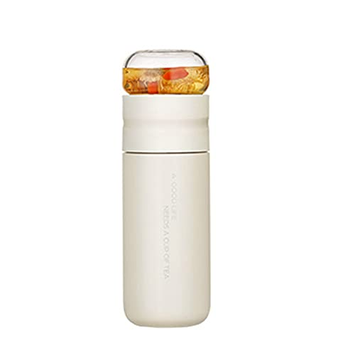 Huaji Taza aislada con filtro de acero inoxidable botella de té taza con infusor de vidrio separa té y agua 300 ml