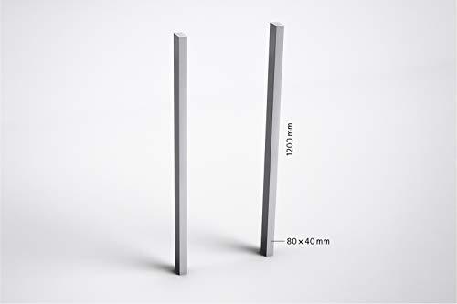 Seitliche Stützenpaar zum Einbetonieren, Aluminium RAL 9006 Weissaluminium