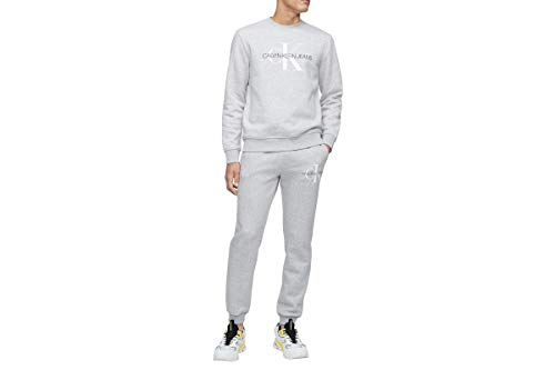 Calvin Klein Herren Monogram Logo Crew Neck Sweatshirt Hemd, Hellgrau meliert Ck, Medium