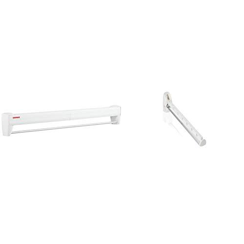 Leifheit Wandtrockner Telegant 36 Protect Plus, zum Ausziehen, platzsparender Wandwäschetrockner & Wandkleiderhalter Airette mit 31 cm Länge für 7 Kleiderbügel