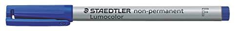 Staedtler 316-3 Lumocolor non-permanent Folienstift (wasserlöslich, 10 Stück in Kartonschachtel, F-Spitze Linienbreite ca. 0.6 mm, hohe Qualität Made in Germany) blau