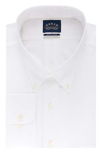 Eagle Men's FIT Dress Shirt Non Iron Stretch Collar Solid (Big and Tall), White, 18.5' Neck 34'-35' Sleeve (XX-Large)