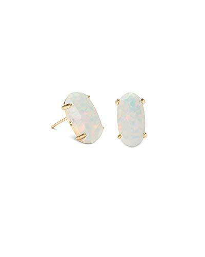 Kendra Scott Betty Stud Earrings in White Kyocera Opal, 14k Gold-Plated