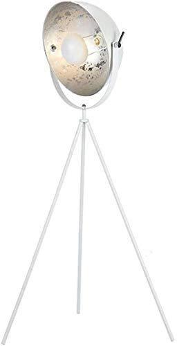 Raelf Steel Searchlight 60W Studio Light E27 Socket 5500K Continuous Lighting Contemporary Matte Golden/Silver Industrial Studio Designer Modern Tripod Floor Lamp - 142 Cm H,Concave Lampshade Deco Adj