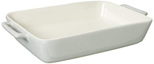 LE REGALO Rectangular Stoneware Baking Dish, 13.5x8.25x2.5, White
