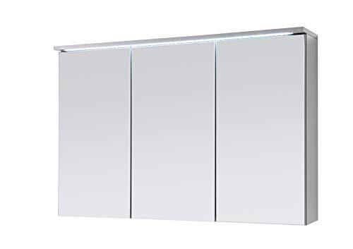 moebel-guenstig24.de Two Spiegelschrank Bad mit LED-Beleuchtung in Titan/Weiß - Badezimmerspiegel Schrank mit viel Stauraum, Metall, Grau, 100 x 68 x 22,5 cm