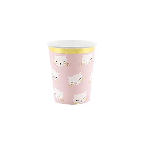 Party Deco Conf.6 tasses en carton imprimé chat musc doré brodé