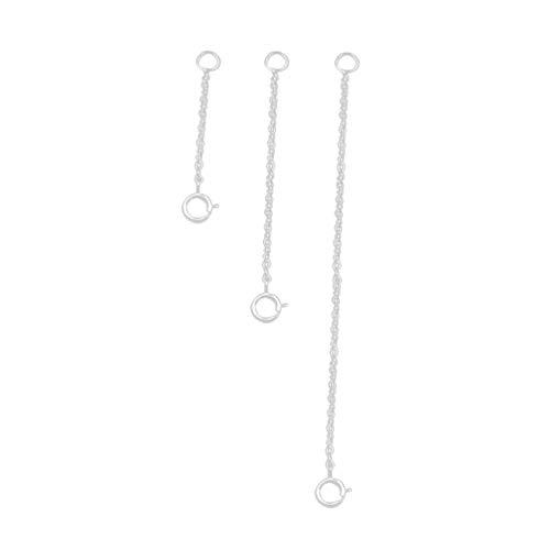EXCEART 3pcs Kettenverlängerung Silber 925 Silber Verbindung Kette 3cm+5cm+8cm mit Verschluss für Halskette Armband Schmuckherstellung (Silber)