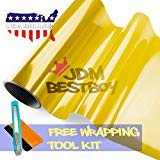 JDMBESTBOY Free Tool Kit 12'x60' (1FT x 5FT) Glossy Golden Yellow 3000k Tint Headlight Fog Lights Taillight Smoke Vinyl Film Self Adhesive