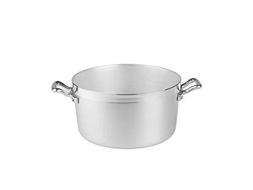 Pentole Agnelli AGNELLI Casseruola Alluminio Alta Family 2 Manici cm20 Pentole Cucina, Acciaio Inossidabile, Argento, 20 cm
