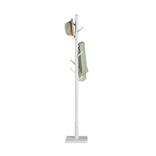 Garderobe garderobe massief houten vloer staande hoed en kapstok multifunctionele vloer eenpolige deurstandaard woonkamer slaapkamer kledinghanger (kleur: houtkleur) wit