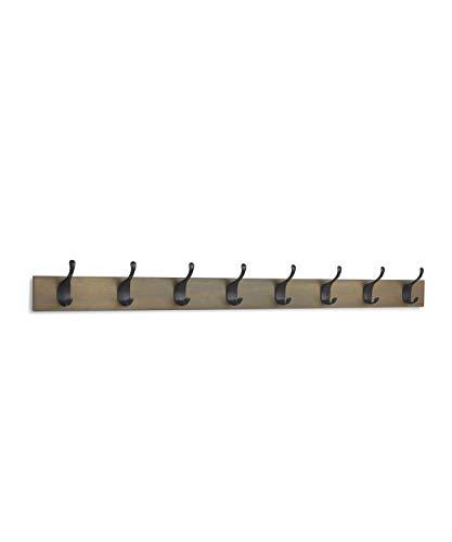 AmazonBasics - Perchero de madera de pared, 8 ganchos modernos 92 cm, Madera noble, 2 unidades