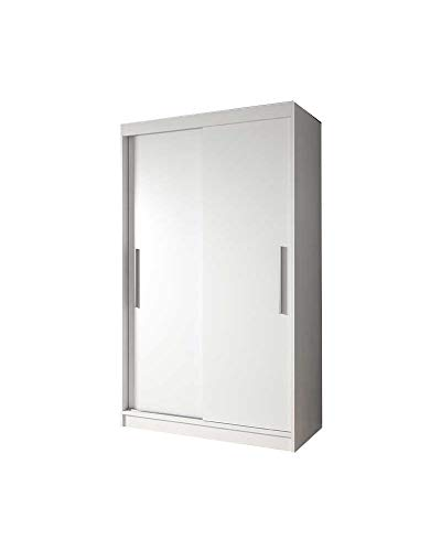 E-MEUBLES Armoire de Chambre avec 2 Portes coulissantes | Penderie (Tringle) avec étagères (LxHxP): 120x200x61 Noah 04 (Blanc+ Blanc)