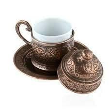 Teekannen 6 Stück Kupfer osmanischen türkischen arabischen Tee Kaffee Espressotassen Becher Set - 6 Stück Tassen Saucen mit Tablett, Zuckerdose Made In Turkey Geschenkbox